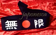 "black hachimaki handpainted with ""mugen"": no limits"